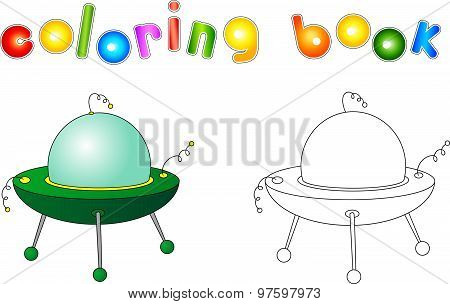 Ufo With Light Beam. Flying Saucer. Coloring Book For Children About Space