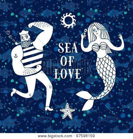 Sea Cartoon Illustration With Sailor And Mermaid