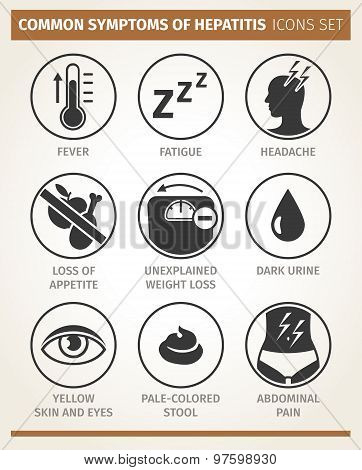 symptoms of hepatitis. vector icon set