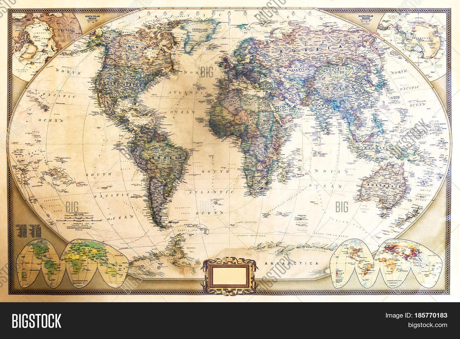 Detailed world map two hemispheres image photo bigstock detailed world map with two hemispheres which depicts the continents seas oceans names of countries their gumiabroncs Image collections