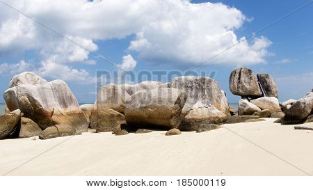 Natural Rock Formation On A White Sand Beach In Belitung Island In The Afternoon, Indonesia.