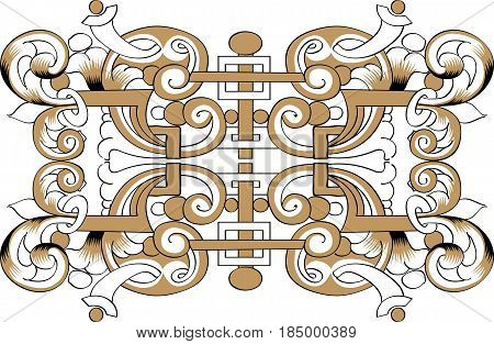 Fragment of black and gold drawing orthodoxy pattern, Russia