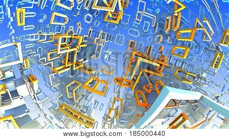 Colorful geometric shapes floating in space. 3D illustration labyrinth or maze