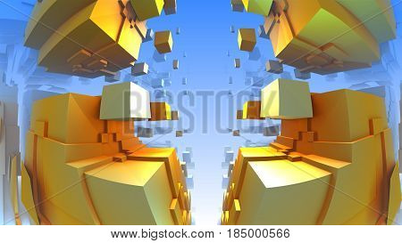 3D geometric shapes from cubes, 3D illustration