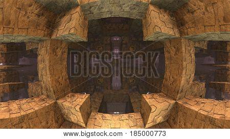 3D geometric shapes, 3D illustration labyrinth or maze