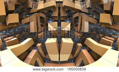 3D geometric shapes floating in space, 3D illustration labyrinth or maze