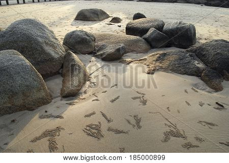 Natural Rock Formation On A White Sand Beach In Belitung Island In The Morning Indonesia.