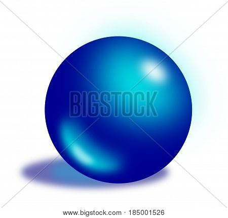 Dark blue shiny translucent ball with a shadow. For various creative projects decorations invitations celebrations cards layouts templates buttons for websites or programs etc.