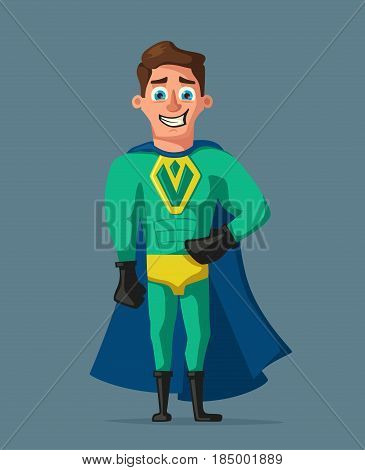 Superhero in uniform. Cartoon vector illustration. Good man. Hero character. Muscular body. Person in cloak. Justice and help. For banners and posters