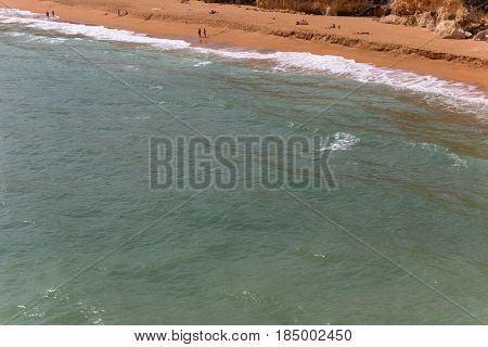 ARMACAO DE PERA, PORTUGAL - APRIL 24, 2017: Senhora da Rocha Beach, in the fishing village of Armacao de Pera, Algarve, Portugal