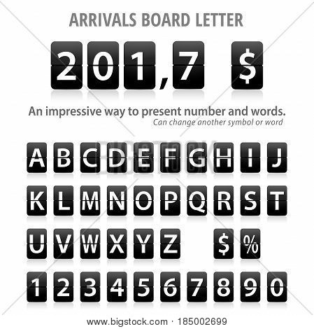 Arrival Board letters set. Fully editable Illustration vector