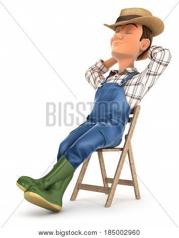 3d farmer sleeping on chair illustration with isolated white background