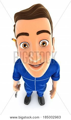 3d mechanic standing and looking up at camera illustration with isolated white background