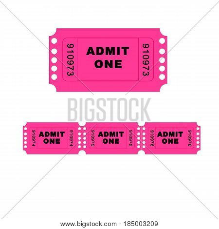A pink admit one ticket isolated on a white background - illustration digital high resolution.