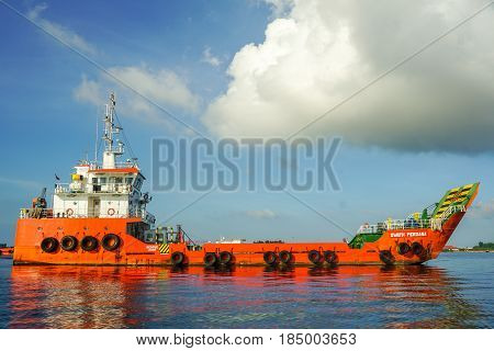 Labuan,Malaysia-May 1,2017:Multi function offshore support vessel in Labuan island,Malaysia.All the vessels port in Labuan island,most related to the offshore Oil & Gas industry