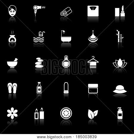 Beauty icons with reflect on black background, stock vector