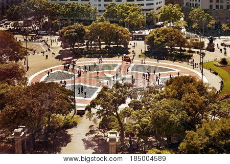 BARCELONA, SPAIN - MAY 4, 2017: Aerial view of Placa Catalunya in Barcelona, Spain. This square is considered to be the city center and some of the most important streets meet here
