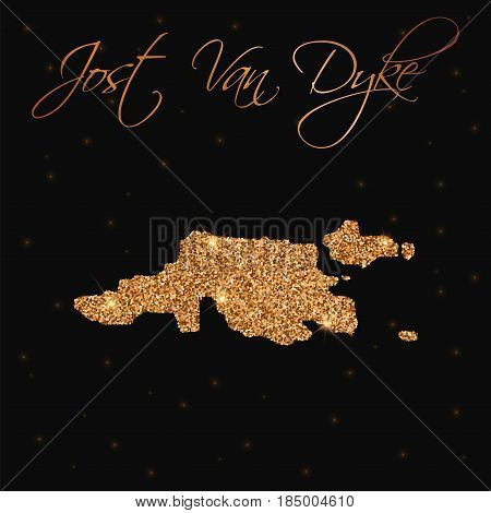 Jost Van Dyke Map Filled With Golden Glitter. Luxurious Design Element, Vector Illustration.