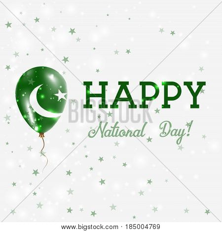Pakistan National Day Patriotic Poster. Flying Rubber Balloon In Colors Of The Pakistani Flag. Pakis