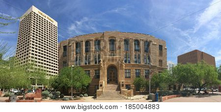 PHOENIX AZ - MARCH 20 2017: West side entrance to Old Phoenix City Hall Phoenix downtown with historic and modern buildings Arizona