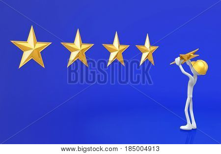 The Original 3D Character Illustration Construction Worker Placing A Star