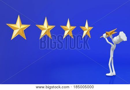 The Original 3D Character Illustration Chef Placing A Star