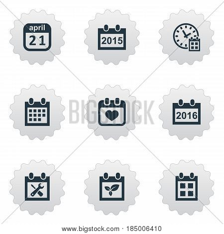 Vector Illustration Set Of Simple Calendar Icons. Elements Annual, Reminder, 2016 Calendar And Other Synonyms Block, History And Agenda.