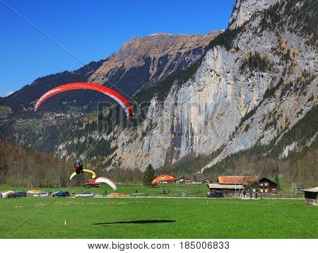 Paragliding in the Swiss Alps, Lauterbrunnen Valley, Europe