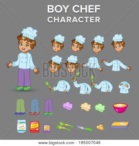Boy chef character. Fully editable Illustration vector