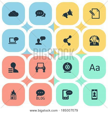 Vector Illustration Set Of Simple Newspaper Icons. Elements Loudspeaker, Argument, Man Considering And Other Synonyms Phone, Negotiation And Writing.