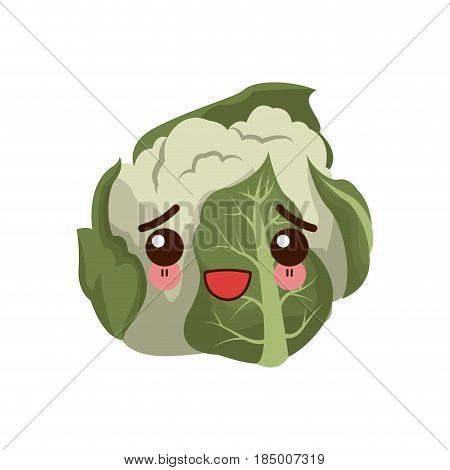kawaii cauliflower vegetable fresh food image vector illustration