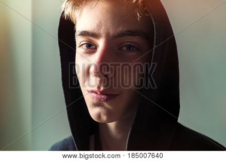 Close Up Portrait Of A Young Man With Hoodie