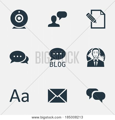 Vector Illustration Set Of Simple Blogging Icons. Elements Man Considering, Document, Post And Other Synonyms Considering, Site And Discussion.