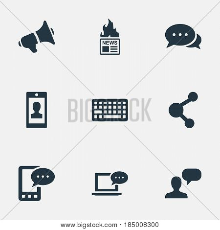 Vector Illustration Set Of Simple Blogging Icons. Elements Gazette, Laptop, Argument And Other Synonyms Coming, Laptop And Speaker.