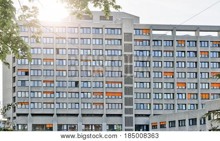 Sunset Behind The Urban Hospital In Berlin