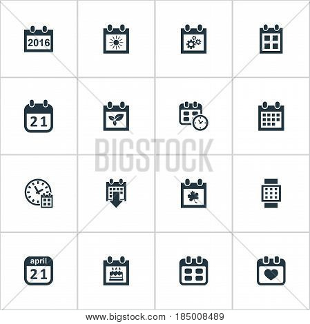 Vector Illustration Set Of Simple Date Icons. Elements Deadline, History, Special Day And Other Synonyms Autumn, Wheel And Spring.
