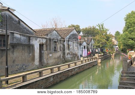 Pingjiang historical street cityscape in Suzhou China
