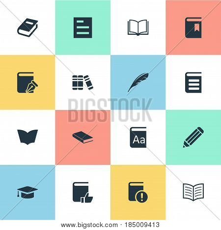 Vector Illustration Set Of Simple Reading Icons. Elements Bookshelf, Book Page, Encyclopedia And Other Synonyms Feather, Academic And Document.