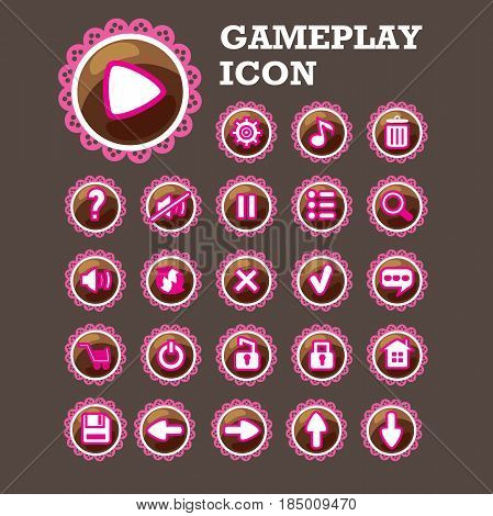 Gaming interface button set. Fully editable Illustration vector