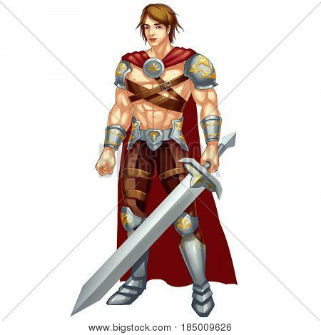 Cool Character: Greek Hero, War God isolated on White Background. Video Game's Digital CG Artwork, Concept Illustration, Realistic Cartoon Style Background and Character Design