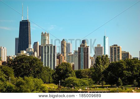 Town view of Chicago from a bridge.