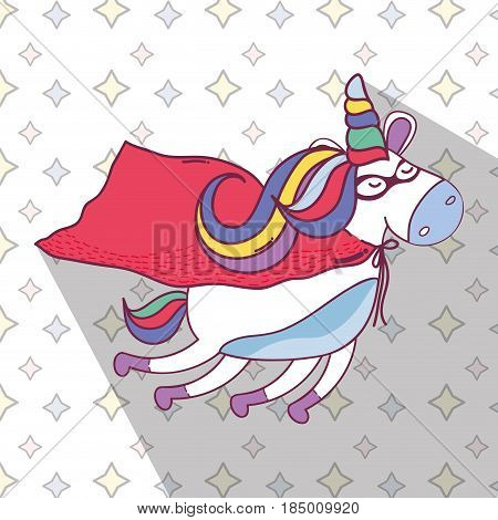beautiful super hero unicorn flying, vector illustration