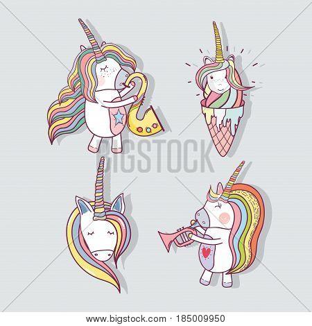 set beautiful unicorn with long mane, vector illustration