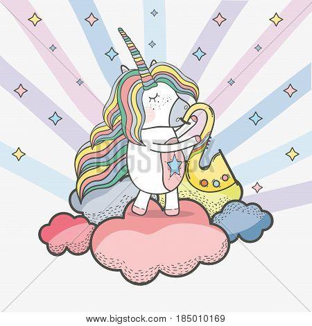 beautiful unicorn play saxophone instrument, vector illustration