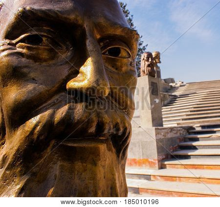 Statue of an old and well-known poet in Iran