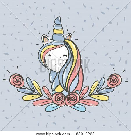 beautiful head unicorn with long mane, vector illustration