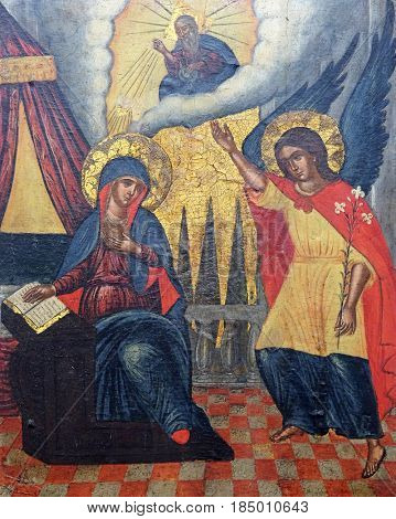 DUBROVNIK, CROATIA - NOVEMBER 08: Annunciation, Italo Cretan School, 16th century, convent of the Friars Minor in Dubrovnik, November 08, 2016.