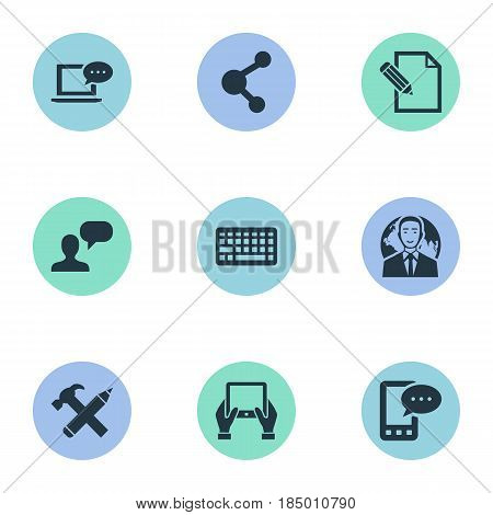 Vector Illustration Set Of Simple User Icons. Elements Keypad, Repair, Document And Other Synonyms Debate, Keypad And Pencil.