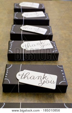 Thank you gifts for the wedding party at a reception in Oregon.