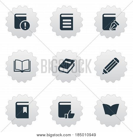 Vector Illustration Set Of Simple Reading Icons. Elements Recommended Reading, Notebook, Encyclopedia And Other Synonyms Bookmark, Encyclopedia And Book.